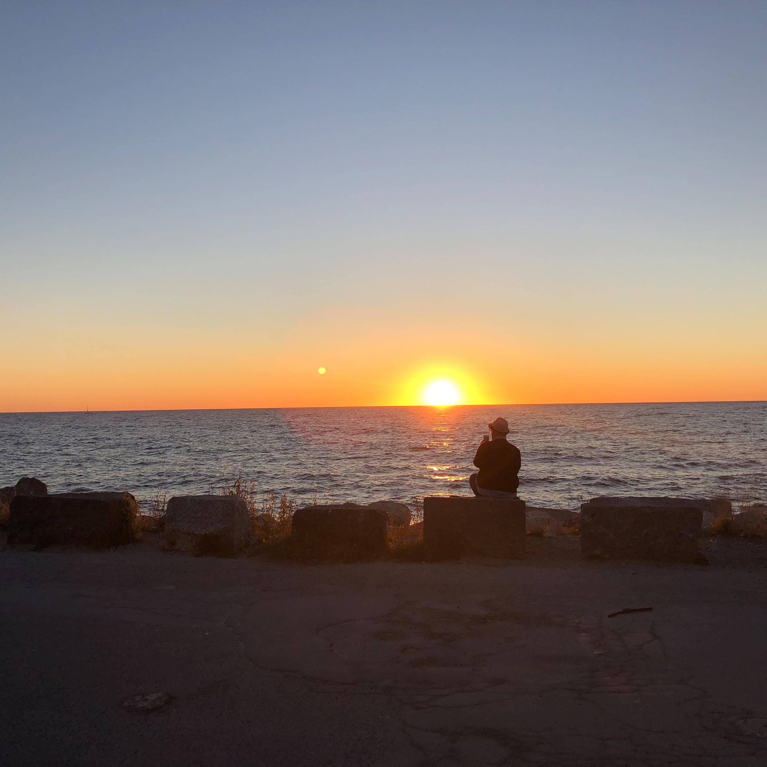 Solnedgång sedd från Visby gästhamn.